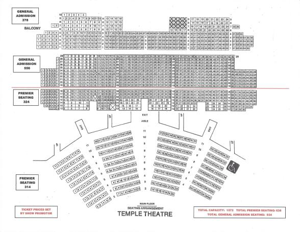 TEMPLE SEATING SCHEMATIC - LEVELS 2